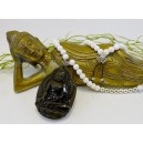 Obsidan Buddha Amulett Jade weiß